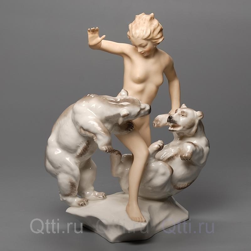"""Статуэтка """"Девушка и медведи"""", Hutschenreuther"""