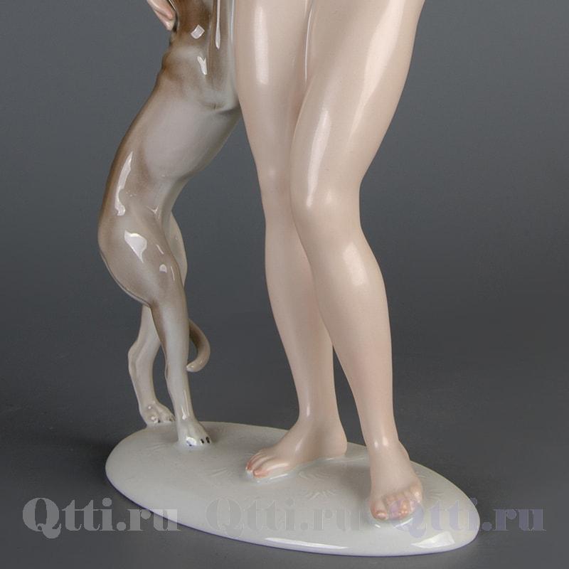 """Статуэтка """"Обнаженная девушка с собакой"""" Rosenthal"""